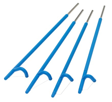 Row of four blue Fischer Cone Biopsy Excisor - LEEP Electrodes