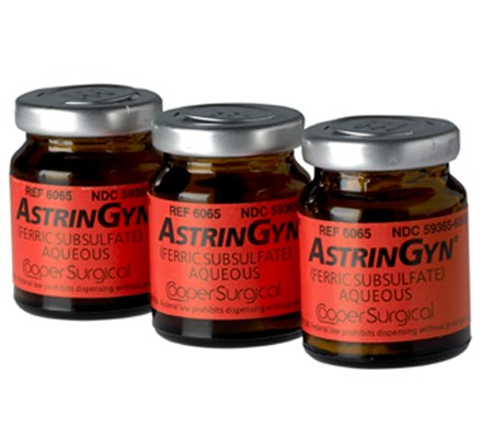 Row of three bottles of AstrinGyn - Thickened Monsel's Solution