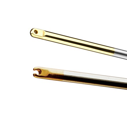 Close-up view of two Laparoscopic Knot Pusher tools, closed-tip and open-tip