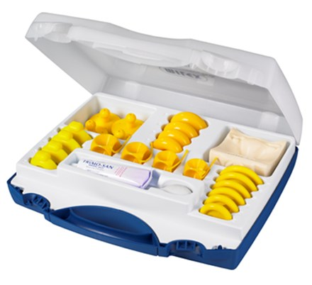 Milex Pessary Fitting Kit, open box with yellow-colored pessary supplies inside