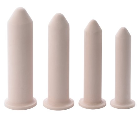 Row of Milex Vaginal-Hymenal Silicone Dilators lined up from large to small