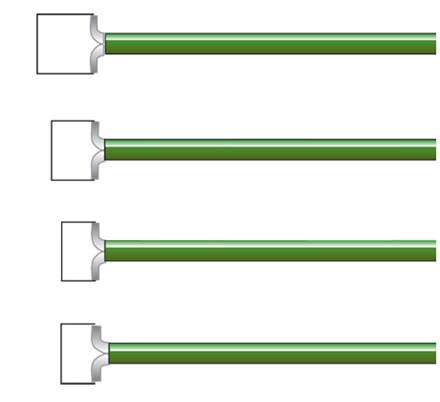 Row of four green LEEP Square Electrodes lined up parallel to each other