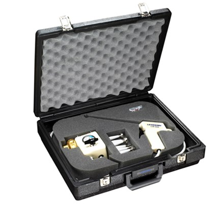 Padded black briefcase containing Leisegang LM-900 and accessories